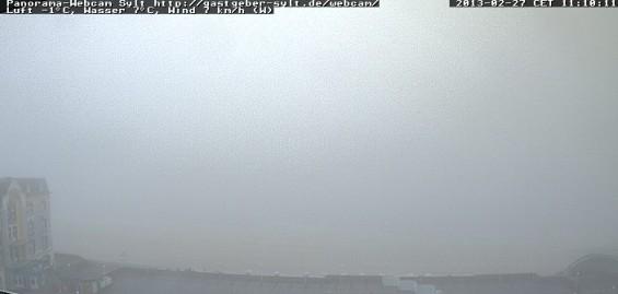 Livebild der Panorama Webcam Sylt: Westerland im Nebel.